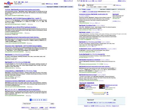 Baidu JP vs Google JP