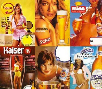 Cerveja, mulher e objetos