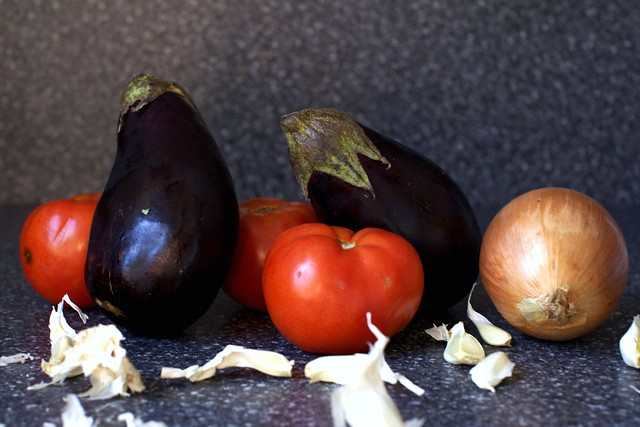 eggplants, tomatoes, onion and garlic