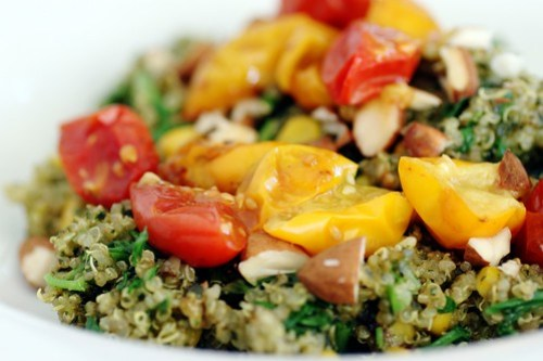 hearty quinoa with roasted tomatoes