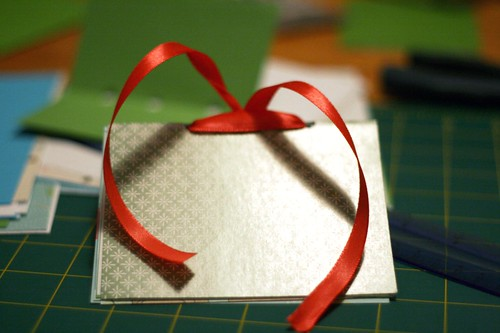 ribbon-bound blank books: assembly part three