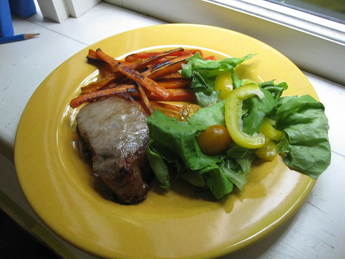 Pork Chop, Carrot Fries & Salad