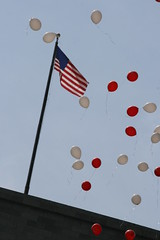 Flag and balloons