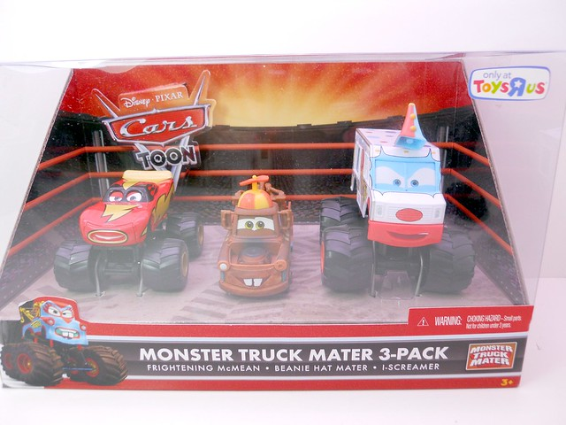 DISNEY CARS TOYS R US MONSTER TRUCK MATER 3 PACK BEANIE MATER I SCREAMER FRIGHTNING MCMEAN (1)