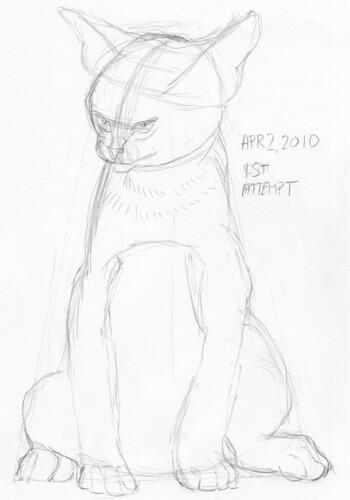 Cute kitten, drawn live on April 2, 2010