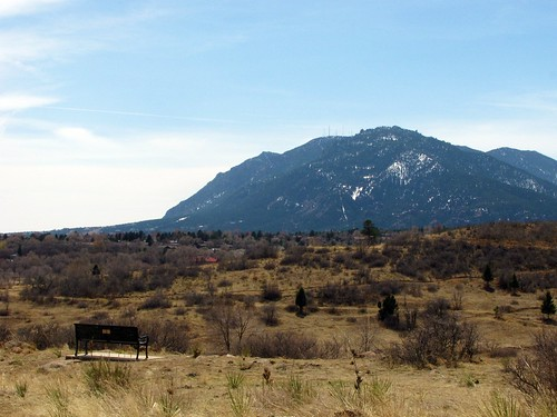 Bench overlooking Cheyenne Mountain