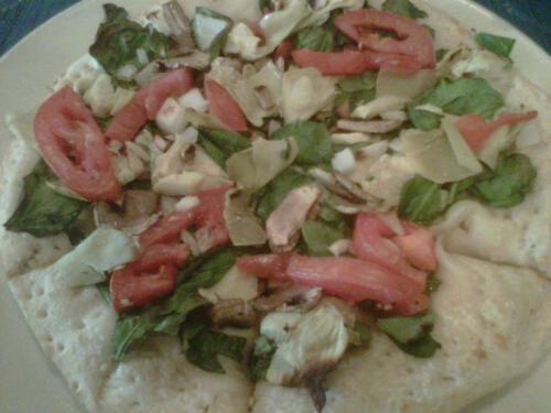 Spinach artichoke pizza at Cafe Lou Lou