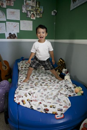 Noah and his new car bed!