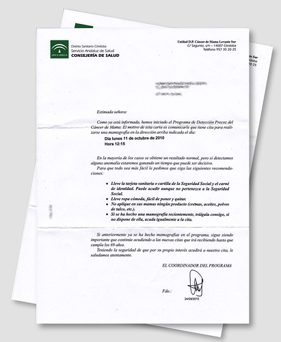Carta del Servicio Andaluz de Salud a mi madre