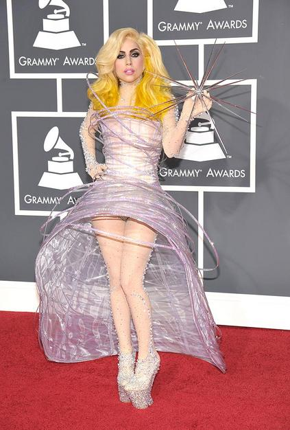 Singer Lady Gaga arrives at the 52nd Annual GRAMMY Awards held a