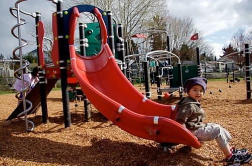 Kids enjoying the new play equipment at Steve Cox Memorial Park