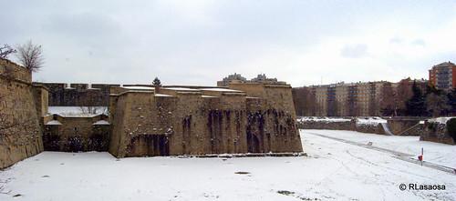Vista del Baluarte de Santa María y de los fosos que rodean la Ciudadela.