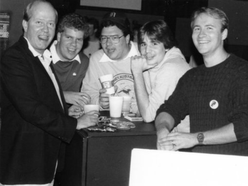 A group of radio announcers from CFGP radio enjoying a night out in Grande Prairie Alberta. From l to r: Peter Hall, Jeff Bolt, Paul Oulette, Clint Lalonde (me), Daryl Olsen.