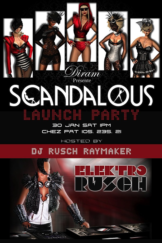 DIRAM Scandalous Launch Party Flyer