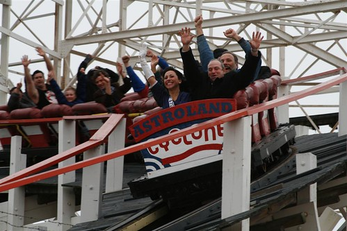 The Cyclone Roller Coaster's First Ride of the 2010 Season. Photo © Bruce Handy/Pablo 57 via flickr