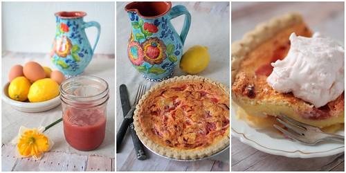 Rhubarb Lemon Sponge Pie Triptych