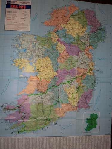 map of Ireland with route