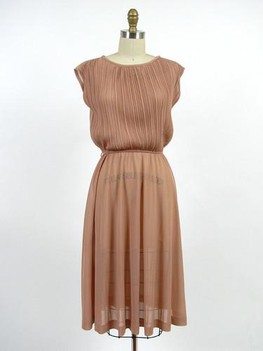vintage 80s pleated nude sheer dress