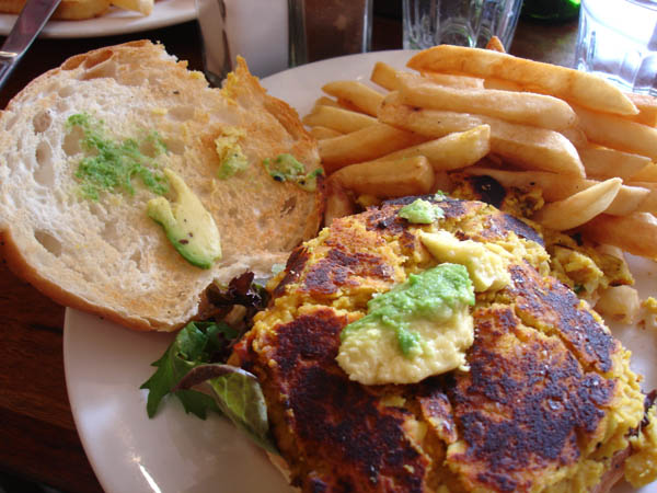 """My Cafe (Canberra) - """"Guacamole"""" on lentil and macadamia burger"""