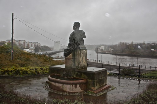 Photograph by Janet E Davis of William Lisle Blenkinsopp Coulson memorial on a wet Sunday.