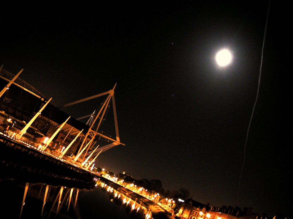 Millennium Stadium, moon and trail