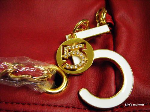 韓國雙5吊墜鏈條菱格紋肩包裝飾掛鍊