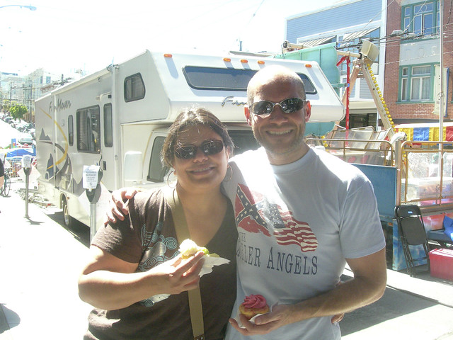 "Checking out the ""Union Street Fair"" with my friend C. having just left the bakery, ""That Takes the Cake"""