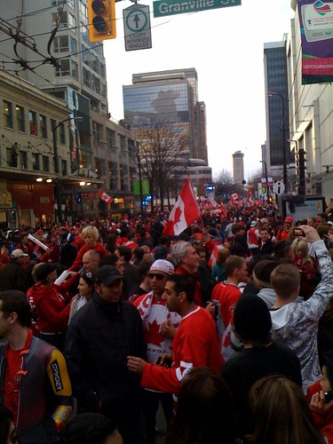 Robson Street and Granville right now. This city has never been alive  like this #van2010 #tnmh