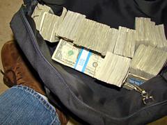 Money, cash, bag of money, money bag, garbage bag of money, full of money