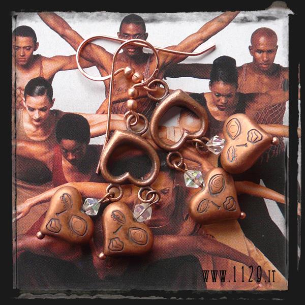 orecchini cuori rame - copper hearts earrings LBPICUO
