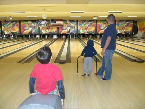 Three guys bowling