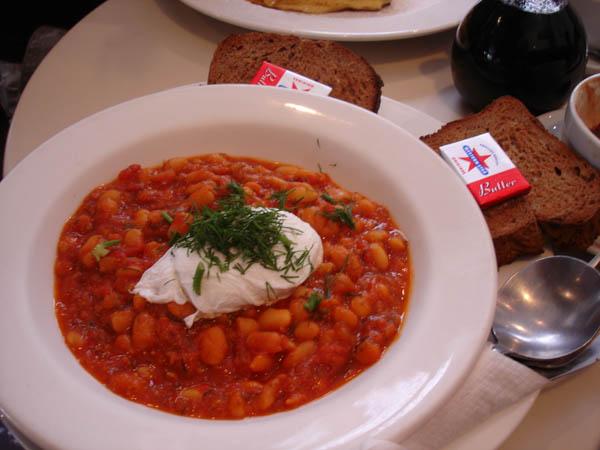 Cafe Sofia - Homemade baked beans, poached egg, toasted sourdough