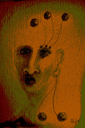 Drawing of a woman with other heads growing from her eyebrow and out of her earring