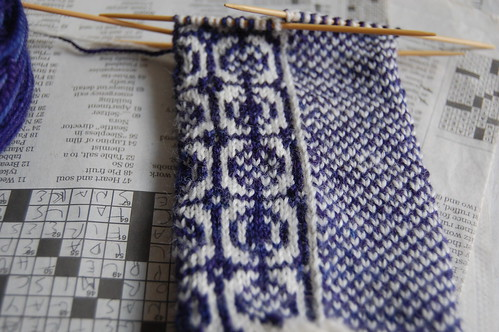 sanquhar socks in progress