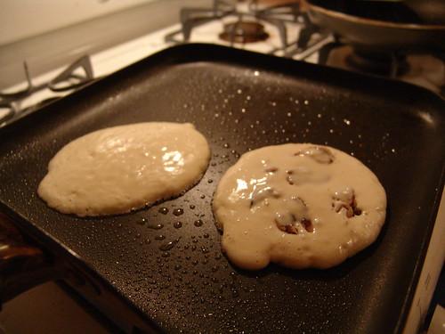 walnut pancakes cooking