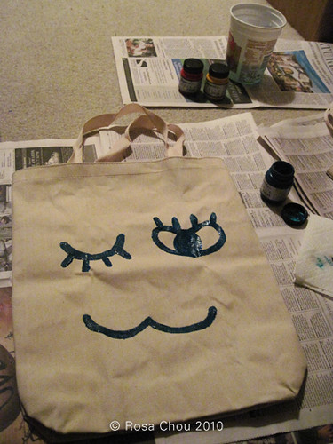 Canvas Bag - painting on facial features