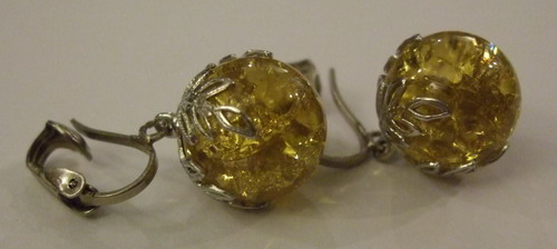 Vintage Earrings Crown Baubles Yellow