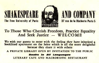 carte de la libraire Shakespeare and company