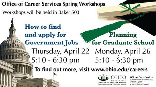 Office of Career Services Spring Workshops