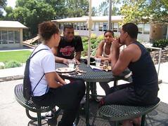 Students enjoying BBQ break