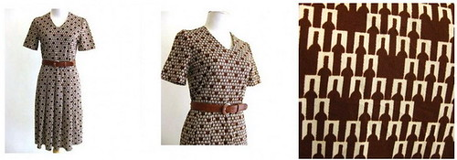 Vintage Dress Brown Bottles