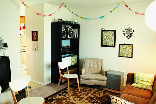 Paper garlands in the living room.