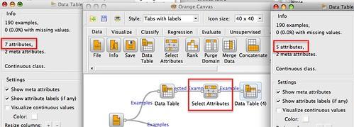 selecting columns in Orange