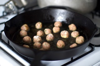 browning the wee meatballs