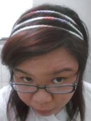 3 layered headband while worn