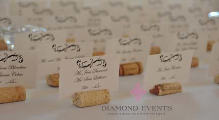 Whitehall Manor Wine cork Placecards for Wedding