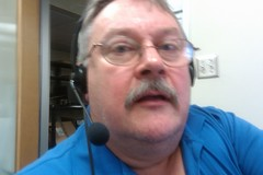 Bill starting to record an audio file using Audacity.
