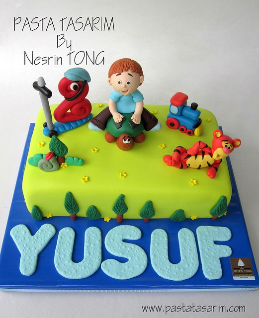 2nd BIRTHDAY CAKE- YUSUF (SCOOTER, TIGER, TRAIN AND TURTLE)