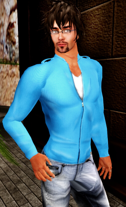 SHIKI-knit zip-up sweater SKY BLUE