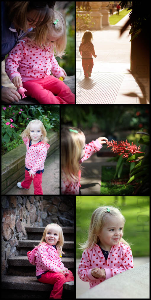This photo collage highlights a toddler session in San Diego's Balboa Park